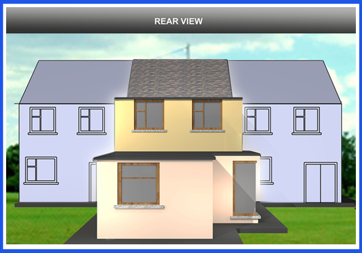 3D Image of an existing Terraced Dwelling with the proposed addition